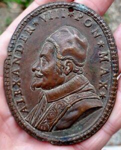 VATICAN / ITALY XRARE LARGE BRONZE PLAQUE POPE ALEXANDER VIII PON MAX
