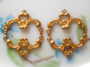 #254 Vintage brass Connectors Ornate Brass Floral Victorian Findings NOS Loops