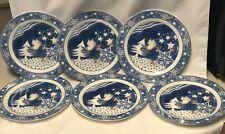"Noritake Set of 6 Salad plates Epoch Mr Snowman 7 5/8"" Christmas Tree Dove Stars"