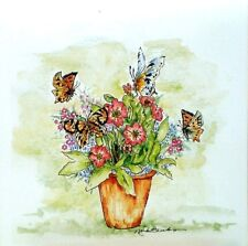 Art Greeting Card Flowers Butterflies Nature Picture Watercolor Painting
