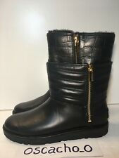 Women's UGG Aviva Mid Calf Boot Black Leather Size UK 5.5
