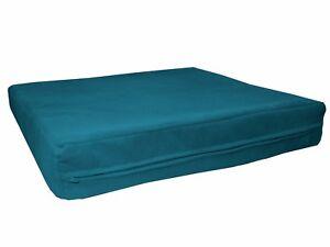 mb69t Teal Blue Flat Velvet Style 3D Box Thick Sofa Seat Cushion Cover Custom