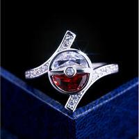 Pokemon Sapphire Red Ruby Ring Pikachu Wedding 925 Silver Jewelry Gifts