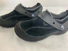 Crocs Kids Youth Size J 1 Black Suede Lined Clogs Casual Hike School Comfort