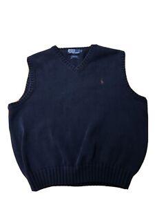 Vintage Polo Ralph Lauren V-neck Sweater Vest Red Pony Men's L Blue