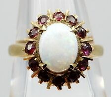 VICTORIAN Solid 14k Yellow Gold / Opal / Garnets Ladies Ring Size 6.75