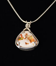 "Mexican Fire Opal Sterling Silver Wire Wrapped Pendant W/18"" Snake Chain"