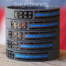 5 Vintage Flag Wristbands with The Thin Blue Line For Police Support Awareness