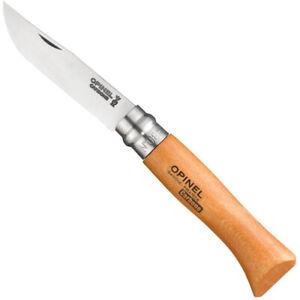 Opinel No 8 Folding Pocket Knife - 8.5cm - Beech Handle - Carbon Steel