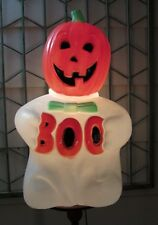 Vintage 1993 Halloween Lighted Plastic Blow Mold Boo Ghost w/Pumpkin Head 24''