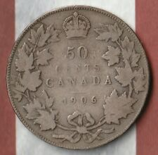 1906 King Edward Canada 50 Cents- 92.5% Silver- Only 350,000 Minted- Clear date