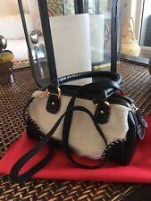 Leather COWHIDE Purse LOLITA CROSSBODY Handbag Argentina Leather/Black White Fur