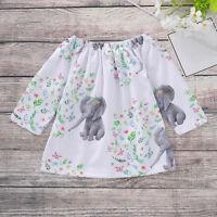 Toddler Kids Baby Girls Dress Long Sleeve Elephant Tops T-Shirt Dresses Clothes