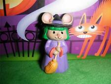 Hallmark Merry Miniatures Halloween Mouse as witch w/broom Stick 1993 Dollhouse