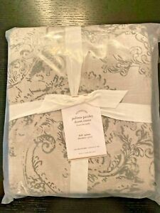 Pottery Barn Jaylinn Paisley Print Duvet Cover Patterned Cotton Gray FULL QUEEN