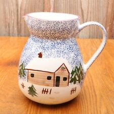Blue Stipple Cabin Pitcher FWC The Cooks Bazaar Microwave Safe