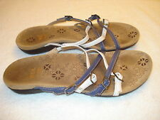 Women Dr Andrew Weil 1st Ray Flexor Zone Blue White Leather Strappy Sandals-40