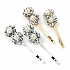 4 Silver, Gold & Pearl Crystal Flower Hair Grips Pins Clips Slides Bridal Prom