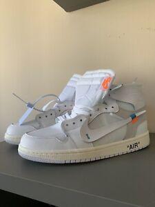 """Nike Air Jordan 1 Retro High Off-White + Zip """"White""""; Sizes - 42, 43, 43, 44, 45"""