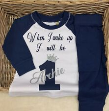 Birthday Navy Pyjamas when I wake up I will be age 1, two, three, four, five,