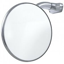 "4"" Peep Mirror - Stainless Steel Round - Curved Arm Clip On Door Hot Rat Rod"