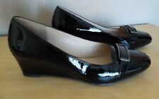 M&S LADIES FOOTGLOVE  BLACK PATENT WEDGE SHOES - WIDE FIT - LEATHER - SIZE 6.5