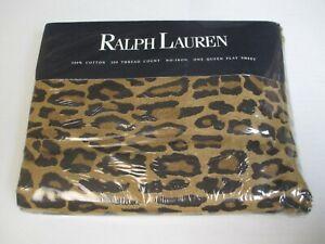New Ralph Lauren Aragon Neutral Guinevere Leopard Flat Sheet - Queen