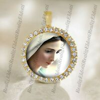 Our Lady of Medjugorje Virgin Mary Catholic Christian Gold Tone Medal Pendant
