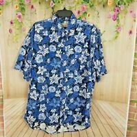 Bill Blass Mens Causal Camp Shirt size Large Blue Floral Aloha Hawaiian (C289)