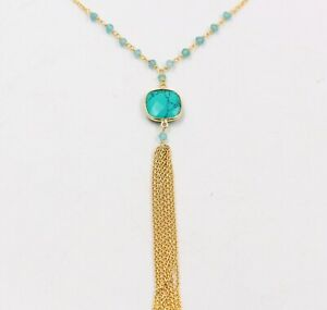 """Round Checker Apatite Turquoise 18"""" Necklace Solid 925 Sterling Silver Jewelry"""