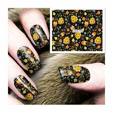 Nail Art Water Decals Stickers Transfers Vintage Flowers Floral Wrap Gel Polish