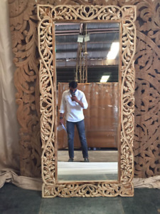 MADE TO ORDER Mehrab Indian Carved Mirror Wooden Arch Wall Decor 90x180 CM