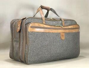 Hartmann Walnut Tweed Leather Garment Bag Carry On Triple Compartment 3 Zip