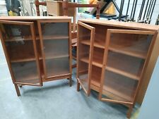 Vintage wooden glass fronted book display case x 2  - matching pair 1986