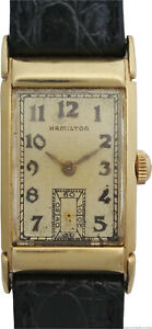 Extra Long 14k Gold Art Deco Hamilton Fancy Curved Vintage Mens Watch to Fix