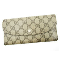 Gucci wallet GG pattern beige PVC �~ leather Auth used T17247