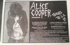 ALICE COOPER Thrashes UK tour 1989 small UK Press ADVERT 6x4 inches