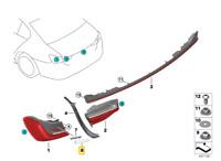 Genuine BMW 7 Series G11 G12 LCI Rear Right Tail Light Trim Strip 63217489892