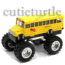 "Welly 4.75"" School Bus Monster Truck Big Foot  Display Toy Car 47006-8D Yellow"