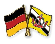 Germany & Brunei Darussalam Friendship Flags Gold Plated Enamel Lapel Pin Badge
