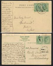 ADEN 1909 2 PC's POSTED IN Aden MAY, 1909 & 2 JULY, 1915 TO INDIA & ENGLAND