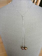 BARSE  Sterling Silver and Champagne Mother of Pearl Lariat Necklace MSRP $58