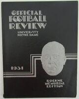 1931 Notre Dame Official Football Review Rockne Memorial Edition Program 139275