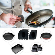 Plastic Grill & Pan Scrapers Cleaner Black Tool Durable Set For Cast Iron - 2pcs