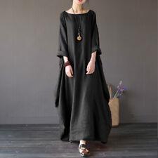 US STOCK Women Oversize Batwing 3/4 Sleeve Casual Loose Long Shirt Maxi Dress
