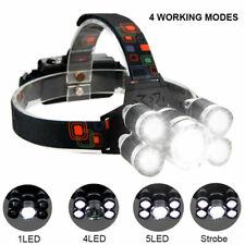 Hell 90000LM 5X T6 CREE-LED stirnlampe USB SCHEINWERFER KOPF FACKEL TASCHENLAMP