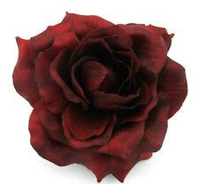 "5.5"" Deep Red,Poly Silk Rose Flower Hair Clip,Pin Up,Updo,Hat,Rockabilly"