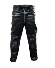MEN REAL BLACK LEATHER PADDED MOTORCYCLE BIKERS PANTS JEANS TROUSERS