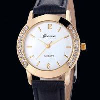 Hot Women Ladies Geneva Stainless Steel Leather Strap Quartz Analog Wrist Watch