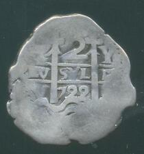 POTOSI MINT BOLIVIA UNDER SPAIN SILVER COB COIN 2 TWO REALES 1722 Y. ALL DATA